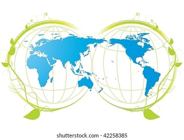 Ecology icon with blue world map and plant, vector illustration
