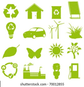 Ecology icon. green all the way