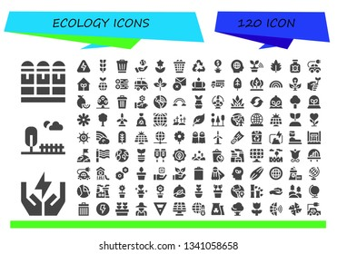 ecology icon set. 120 filled ecology icons.  Simple modern icons about  - Cartridge, Save energy, Park, Energy, Growing plant, Trash, Earth, Flower, Waste, Recycling, Plant, Global
