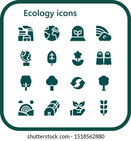 ecology icon set. 16 filled ecology icons.  Simple modern icons about  - Nuclear plant, Earth, Plant, Rainbow, Globe, Leaf, Flower, Fins, Tree, Recycle, Greenhouse, Planting, Growing plant
