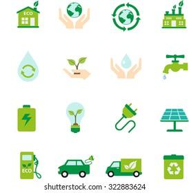 Ecology icon set flat designs