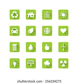 Ecology icon set - long flat shadow eco icon set