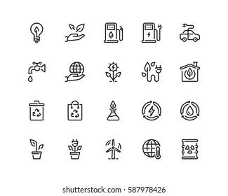 Ecology icon set, outline style