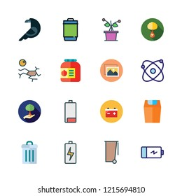 ecology icon set. vector set about atomic, ecologism, image and garbage icons set.