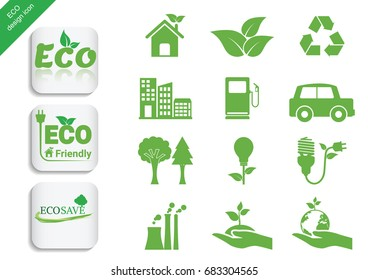 Ecology icon set. Vector Illustration
