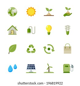 Ecology icons : Flat Icon Set for Web and Mobile Application