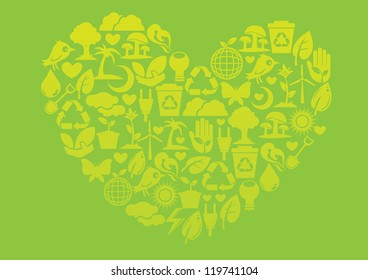 Ecology icons to form into a heart shape. Nature conservation concept.
