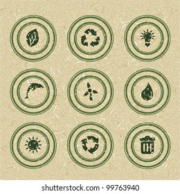 Ecology icons: green stamps on recycled paper. Vector illustration