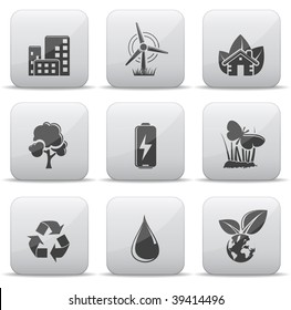 Ecology icons grey buttons