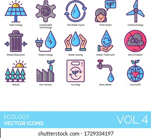 Ecology icons including solar energy, sustainable technology, the water cycle, think green, turbine, waste reduction, saving, treatment, zero emission, nature, eco factory, bag, love earth.