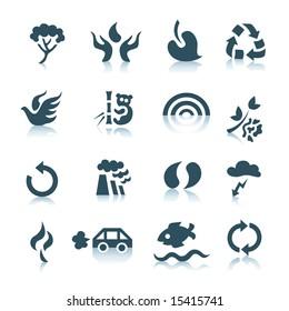 Ecology icons on white background