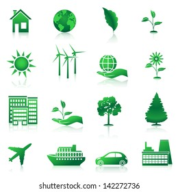ecology icons: plant, tree, factory, wind.