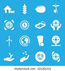 Ecology icons set. set of 16 ecology filled icons such as nest, hand with seeds, house, Lemon, trash bin, greenohuse, sprout, qround the globe, holding globe, globe