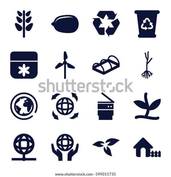 ecology icons set. Set of 16 ecology filled icons such as plant, house, flower, Lemon, recycle bin, sprout, greenohuse, recycle, holding globe, globe, trash bin, mill