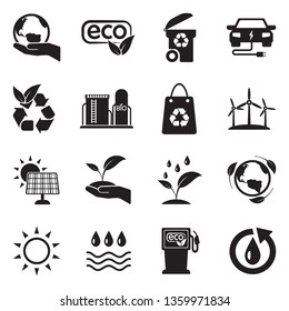 Ecology Icons. Set 2. Black Flat Design. Vector Illustration.