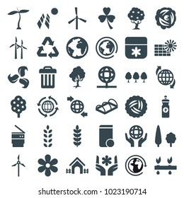 Ecology icons. set of 36 editable filled ecology icons such as plant, nest, tree, mill, flower, energy drink, greenohuse, solar panel, planet, qround the globe, holding globe