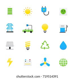Ecology Icons. Set of Environment Vector Illustration Color Icons Flat Style.