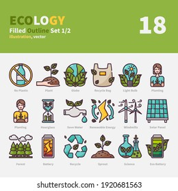 Ecology icons set, Filled Outline, vector and illustration set 1