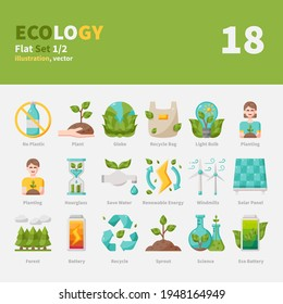 Ecology icons set, Flat, vector and illustration set 1