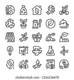 Ecology icons set. Nature protection symbols. Line style