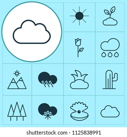 Ecology icons set with rose, mountains, sun and other bush elements. Isolated vector illustration ecology icons.