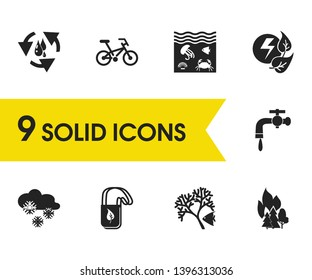 Ecology icons set with snow, fire in forest and eco tote bag elements. Set of ecology icons and tap concept. Editable vector elements for logo app UI design.