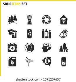 Ecology icons set with water energy, reduce waste and think green elements. Set of ecology icons and rhinoceros concept. Editable vector elements for logo app UI design.