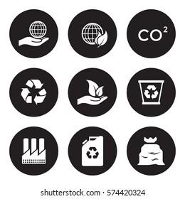 Ecology icons set. White on a black background