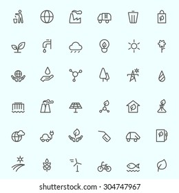 Ecology icons, simple and thin line design