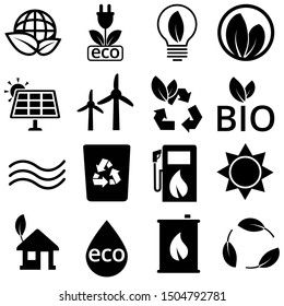 Ecology Icons vector set. green energy illustration symbol collect