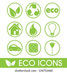 Ecology icons vector set, recycle concept, energy efficiency concept, vector illustration
