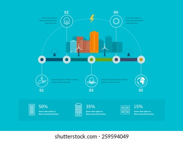 Ecology illustration infographic elements flat design. City landscape. Flat design vector concept illustration with icons of ecology, environment and eco friendly energy