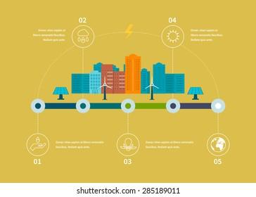 Ecology illustration infographic elements flat design. City landscape. Environmentally friendly house. Flat design vector concept illustration with icons of ecology, environment.