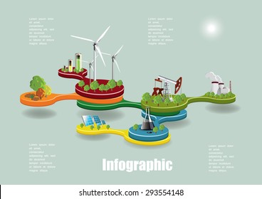 Ecology infographic concept with environment icons, Vector illustration.