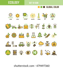 Ecology infographic element outline style set of icon