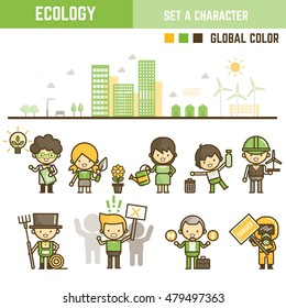 Ecology infographic element outline style set of various character