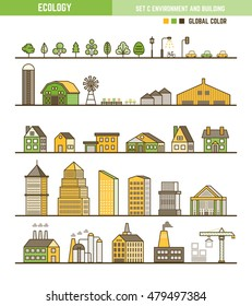 Ecology infographic element outline style set of environment and building