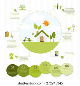 ecology infographic elements, Can be used for workflow layout, banner, diagram, web design, timeline, info chart, statistic  brochure template. vector illustration
