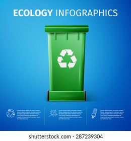 Ecology Infographic Template with Recycle bins. excellent vector illustration, EPS 10