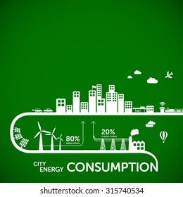 Ecology infographics - city energy consumption