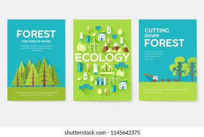 Ecology information cards set. Ecological template of flyear, magazines, posters, book cover, banners. Eco infographic concept  background. Layout illustrations modern pages with typography