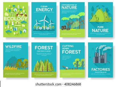 Ecology information cards set. Ecological template of flyear, magazines, posters, book cover, banners. Eco infographic concept  background. Layout illustrations modern pages with typography text
