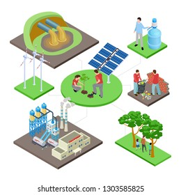 Ecology isometric concept with green technologies, nature revival, water and air pollution vector illustration