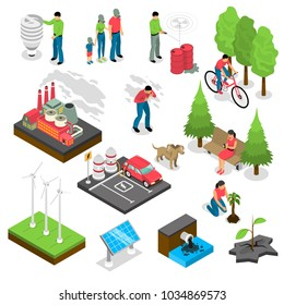 Ecology isometric set with green energy, air and water pollution, electric car, nature revival isolated vector illustration