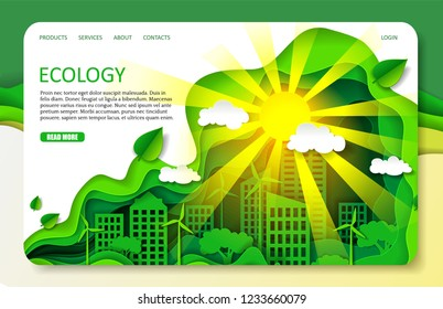Ecology landing page website template. Vector paper cut eco friendly green city with buildings, wind turbines, trees and sun shining brightly. Environment conservation concept.