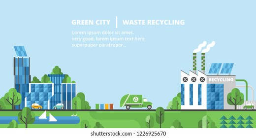 Ecology landscape. Green city, waste recycling. Flat style.
