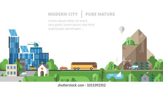 Ecology landscape. Modern city, pure nature. Mountain landscape.