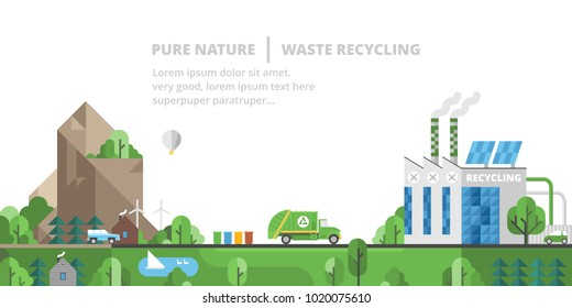 Ecology landscape. Pure nature, waste recycling.