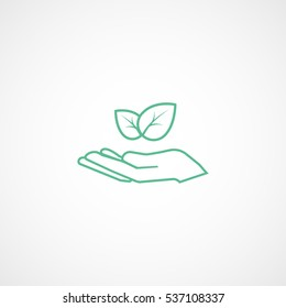 Ecology Leaf In Head Green Line Icon On White Background