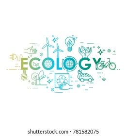 Ecology lifestyle, green energy, recycle. Icons. Vector template in linear style for your design